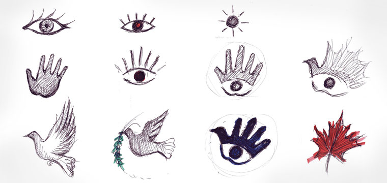 Logo sketches: hand, eye, bird, maple leaf
